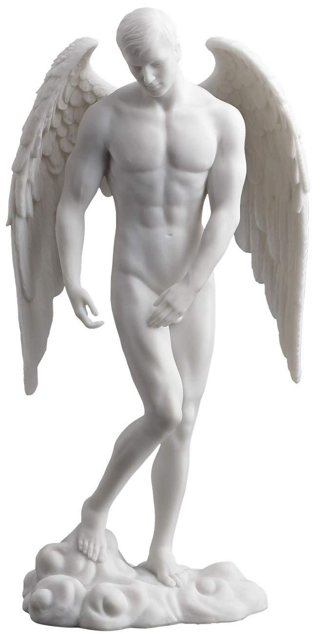 JFSM INC. Male Nude Angel Statue - Male Sculpture Figure - Ships Immediately (White)