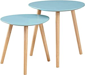 Convenience Concepts Oslo Nesting End Tables, Sea Foam / Light Oak