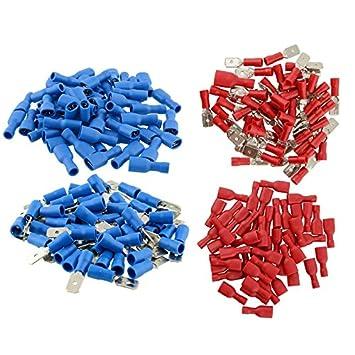 Bolange 100 Paar Blau und Rot Isolierte Spaten Elektrische Crimp ...