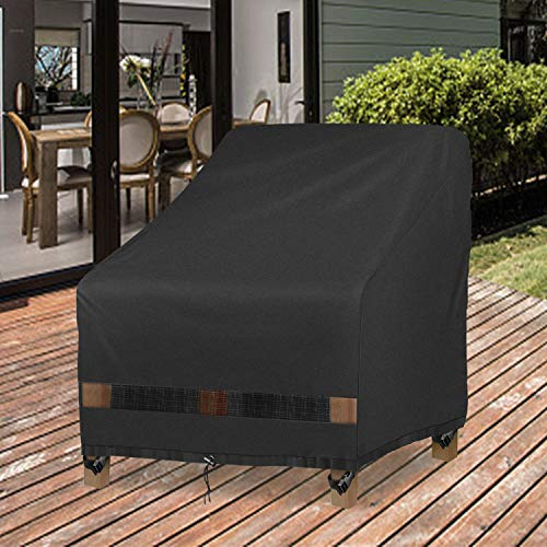 "GARDRIT Patio Chair Covers, Heavy Duty Outdoor Chair Covers, 100% Waterproof Chair Covers for Patio Furniture Fits up to 35"" W x 38"" D x 31"" H ,Black"