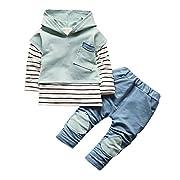 Sharemen Toddler Kids Baby Boy Girls Outfits Hooded Stripe T-Shirt Tops+Pants (0-12Months, Green)