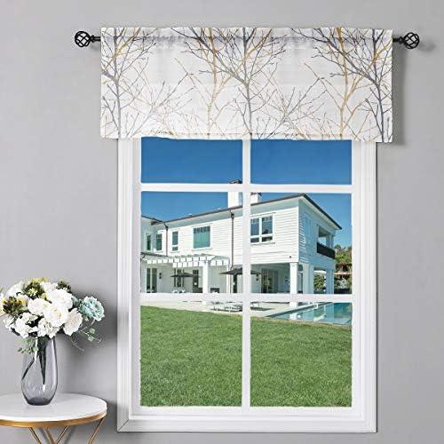Fmfunctex White-Yellow Window Valance Curtain