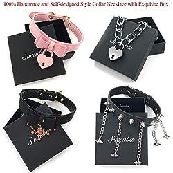 ruilinyang 100% Handmade Self-Designed Premium Bell Padlock Choker Collar Necklace Lolita Bow Collar Cat Cosplay Kitty Velvet Necklace(Multi-Color,A6)