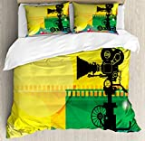 Ambesonne Movie Theater Queen Size Duvet Cover Set, Abstract and Vibrant Colored Composition with Strips Projection Silhouette, Decorative 3 Piece Bedding Set with 2 Pillow Shams, Multicolor
