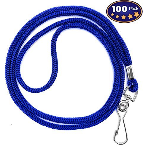 100 Pack Blue ID Badge Lanyards, Round Woven Lanyards for ID Badges with J-Hook