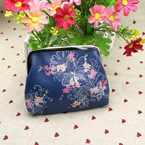 Womens Mini Leather Printed Wallet Cute Card Holder Coin Purse Clutch Handbag US (Pattern - Flower)
