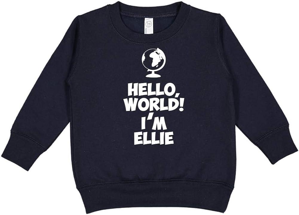 World Im Ellie Personalized Name Toddler//Kids Sweatshirt Mashed Clothing Hello