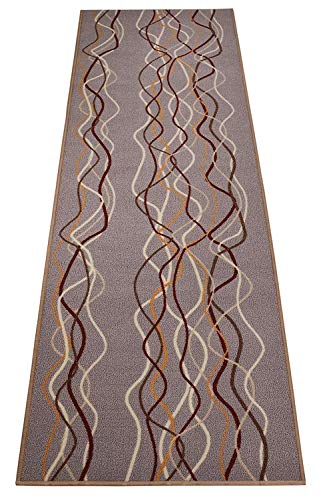 Custom Size Runner Stripes Geometric Abstract Design Roll Runner 26 Inch Wide x Your Length Size Choice Slip Skid Resistant Rubber Back (Grey Multi Color, 4 ft x 26 in)