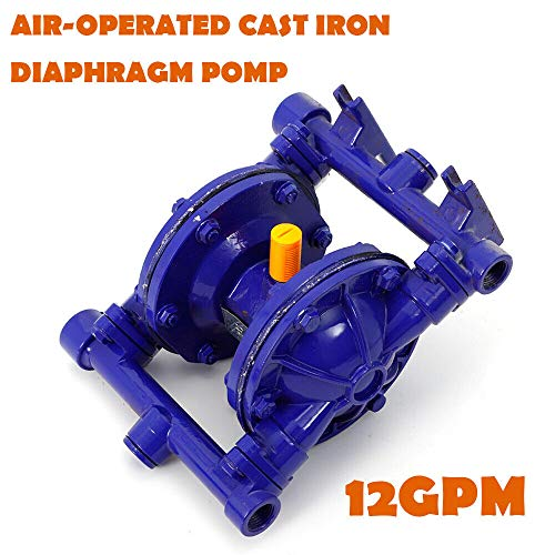 "Air-Operated Double Diaphragm Pump, QBK-15 Heavy Duty Alloy Pneumatic Membrane Pump, 12GPM 115PSI 1/2"" Inlet & Outlet, Blue Cast Iron for Low Viscosity Petroleum Fluids Diesel Kerosene Industrial Use from MONIPA"