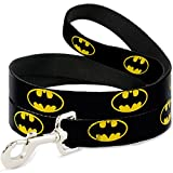 "Buckle Down Pet Leash - Batman Shield Black/Yellow - 4 Feet Long - 1.5"" Wide"