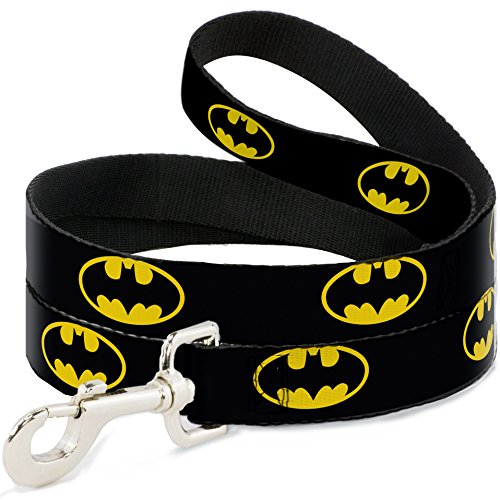 "Buckle-Down Pet Leash - Batman Shield Black/Yellow - 4 Feet Long - 1.5"" Wide"