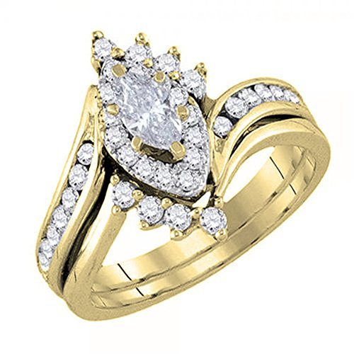 DazzlingRock Collection 0.95 Carat (ctw) 14K Yellow Gold Marquise & Round Diamond Engagement Ring Band Set 1 CT (Size 7.5) 14k Yellow Gold Marquise Band