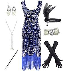 Blue 1920s Fringe Beaded Dress with Costume Set