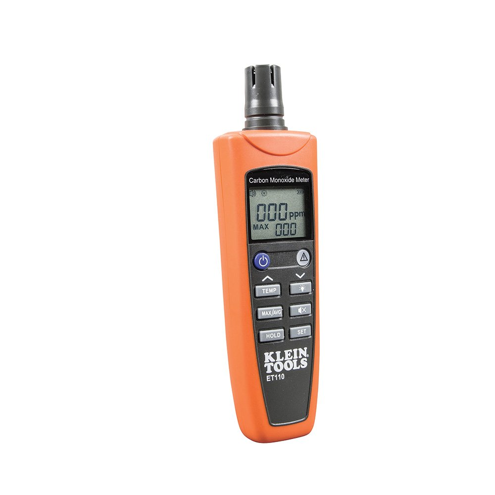 Klein Tools ET110 Carbon Monoxide Meter, Equipped With Exposure Limit Alarm, 4 x AAA Batteries and Carry Pouch Included