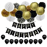 JUSLIN 17 Gold Silver Black Paper Pom Lanterns, 10 Balloons & 1 Banner for Birthday Party Decoration