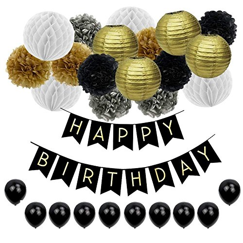 JUSLIN 28pcs Black and Gold Paper Pom Poms Paper Lanterns Folding Fan Banner Balloon, for Birthday Party Decoration