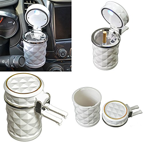 ed Automotive Cup Holder Ashtray Coin Holder Cigarette Auto Car Truck Rv (White) ()