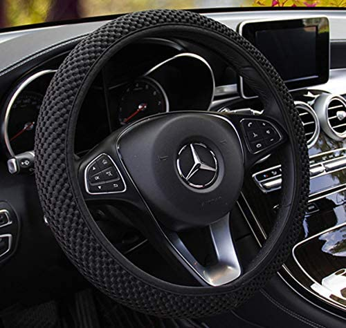 ZHOL Universal 15 inch Steering Wheel Cover Elastic Ice Silk Breathable Anti-Slip Odorless Warm in Winter and Cool in Summer Black Color