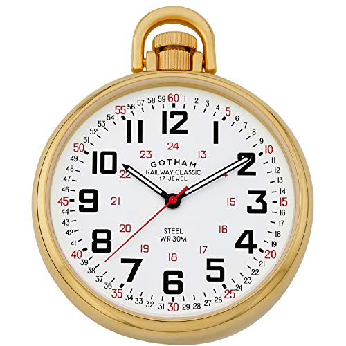Gotham Men's Gold-Plated Stainless Steel Mechanical Hand Wind Railroad Style Pocket Watch # GWC14106G