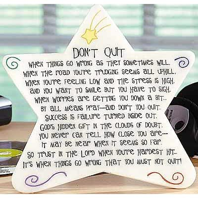 Cathedral Art Metal Abbey Press Don't Quit Marble Plaque - Inspiration Faith Blessing Spirit 09187-ABBEY White