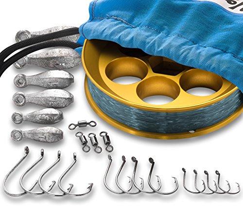 Yoyito Saltwater Aluminum Hand Line Reel Pocket Emergency Survival Fishing Kit Gold Reel Smoke Blue Line, 30-Pound line
