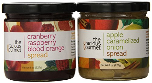 The Gracious Gourmet Spread Duo, Cranberry Raspberry Blood Orange and Apple Caramelized Onion , 8-Ounce (Pack of 2) ()