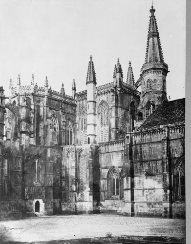 early 1900s photo Spain, Fasade of Sacristy, Batalha Vintage Black & White Ph c2 by Historic Photos