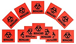 12-pack 4-inch DOT Stickers - Neon Orange Biohazard