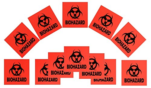 Biohazard Sticker - 12-pack 4-inch DOT Stickers - Neon Orange Biohazard
