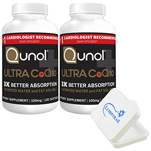 Qunol Ultra CoQ10 100mg, 3X Better Absorption, 240 Count Softgels (2 Pack of 120 Each) with a Lumintrail Pill Case…