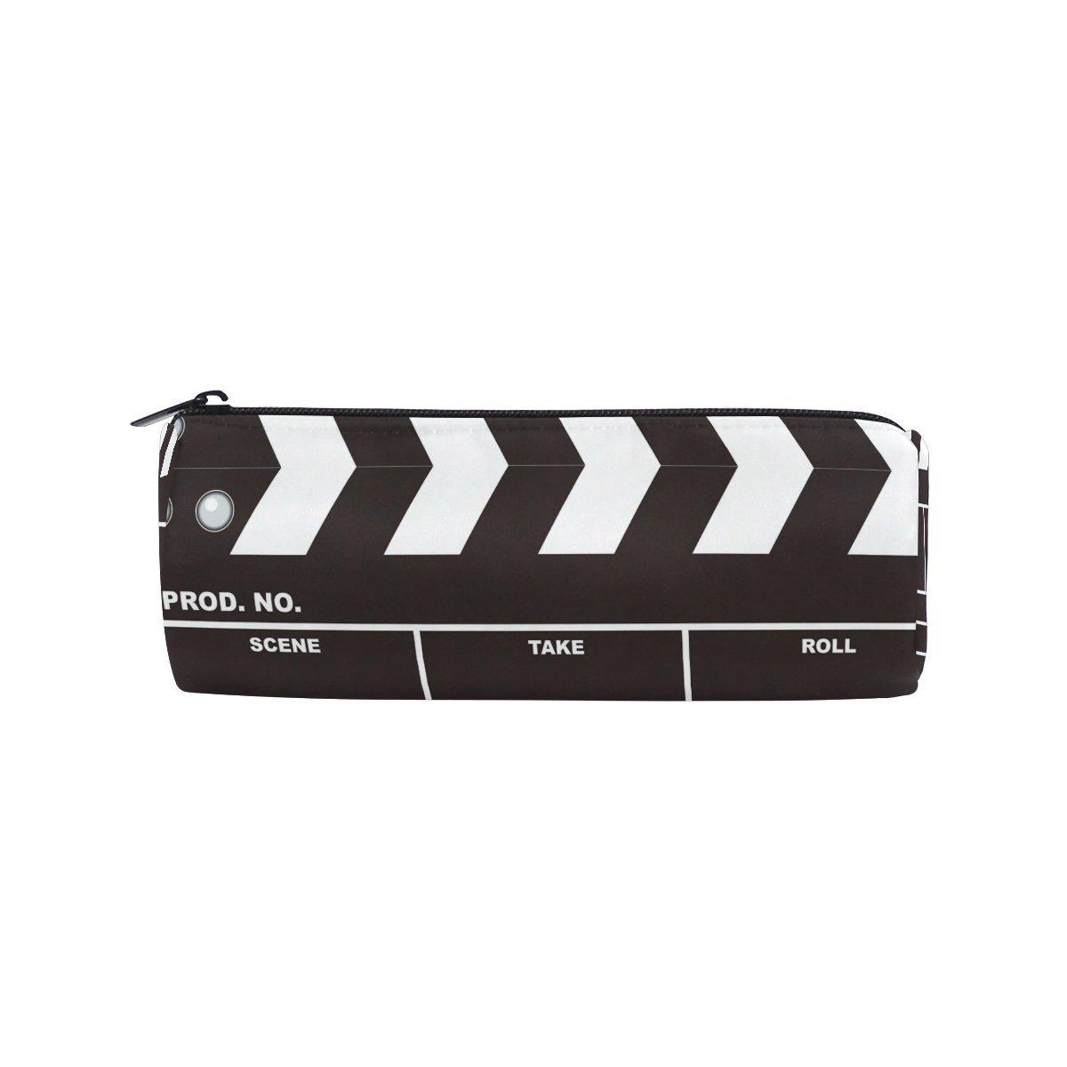 KUWT Pencil Bag Movie Clapboard Music Pattern, Pencil Case Pen Zipper Bag Pouch Holder Makeup Brush Bag for School Work Office