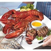 Lobster Gram STGR2Q SURF & TURF GRAM DINNER FOR TWO WITH 1.25 LB LOBSTERS