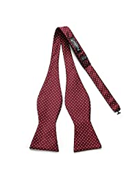 PenSee Mens Exquisite Self Bowtie Polka Dots Woven Silk Bow Ties-Various Colors