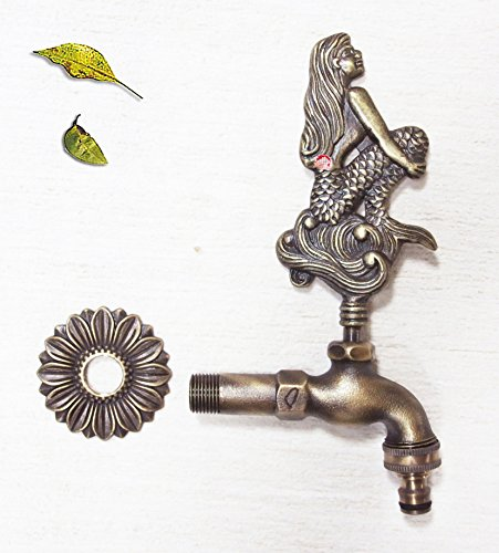 Decorative Outdoor Faucet (Decorative Solid Brass Mermaid Garden Outdoor Faucet - With a Brass Connecter)