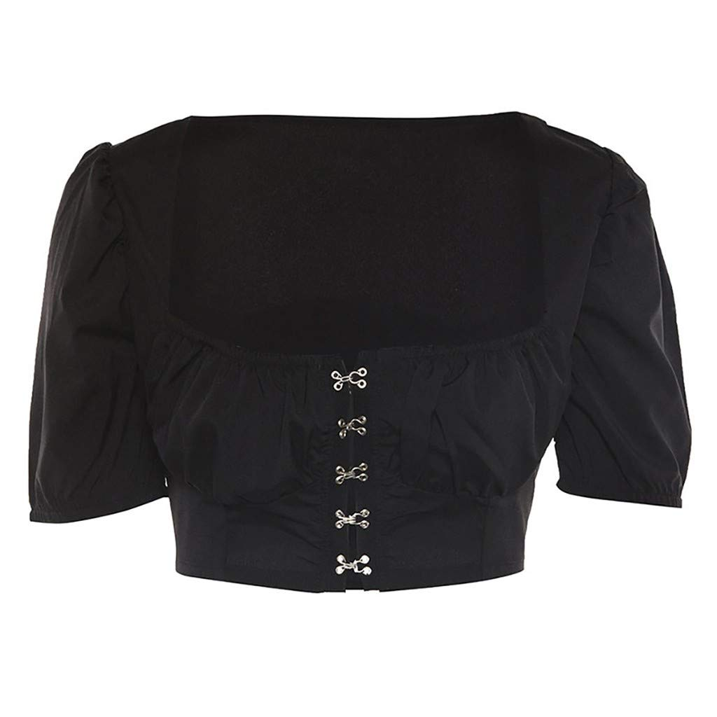 Willsa T Shirt for Women, Solid Sleeveless Fashion Top Square Collar Vest Tank Shirt Tops Black