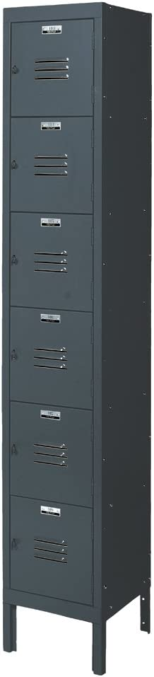 "B002SIOU2Q Edsal CL5131GY-UN Citadel Steel 1 Wide Traditional 6 Tier Box Locker with 6 Opening, 12"" Width x 12"" Height x 15"" Depth, Gray 51OtYlfKKML"