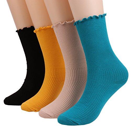 4 Pairs Womens Lightweight Novelty Lace Ruffle Striped Dress Knit Cotton Crew Socks Size 5-9 C59