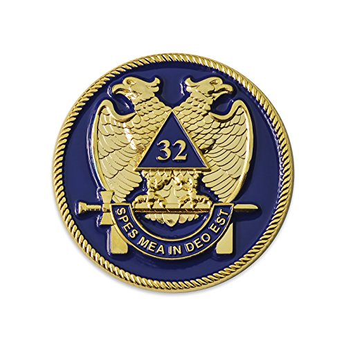 (32nd Degree Scottish Rite Blue & Gold Masonic Auto Emblem - 2