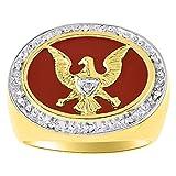 Diamond & Red Onyx Ring 14K Yellow or White Gold Patriotic USA Eagle