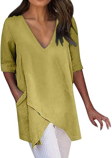 Damen Baumwolle Leinen Kurzarm Lose Taschen Bluse Übergroße T-shirt Tops