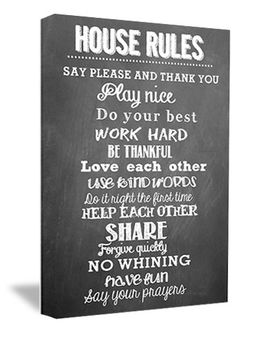 FRAMED CANVAS PRINT House Rules (22u0026quot;x16u0026quot;) Chalkboard Style  Printed Wall Art