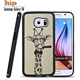 Galaxy S6 Case, Samsung S6 Black Case, Dsigo TPU Black Full Cover Protective Case for New Samsung Galaxy S6 - Detective cartoon giraffe