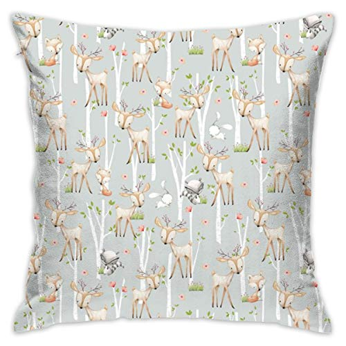 (Sweet Woodland Animals (Frost Gray) Deer Fox Raccoon Birch Trees Flowers Baby Girl Nursery Blanket Sheets Bedding B_2469 Decorative Pillow Case Home Decor Pillowcase (18x18 Inches))