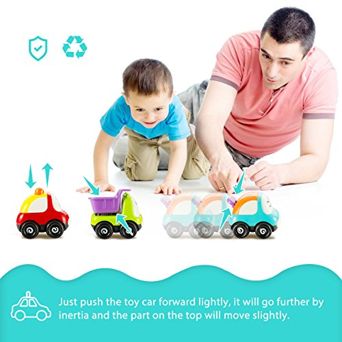 Pictek Cars Toy, Set of 3 Play Vehicles, Push and Go Friction Powered Car Toys, Mini Cartoon Hands Pushing Vehicles for Toddlers