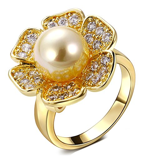 PSRINGS Ladies Copper Ring k gold plated with Cubic zircon imitation pearl designer jewelry 6.0