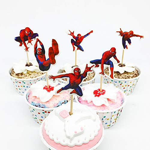 24 PCS Avengers Toppers - Superheroes Cupcake Topper - Children Party Decoration - Hero Party Supplies (Spiderman)