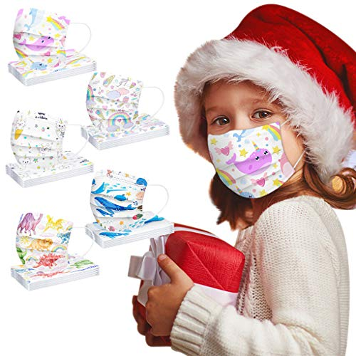 3 Ply Non-Woven and Breathable,Cute Cartoon 50Pcs Face Bandanas with Cute Printing, No Washable,Anti-Haze Dust, for Kids (14.5X9.5CM, 5 Style Mixed A-A)