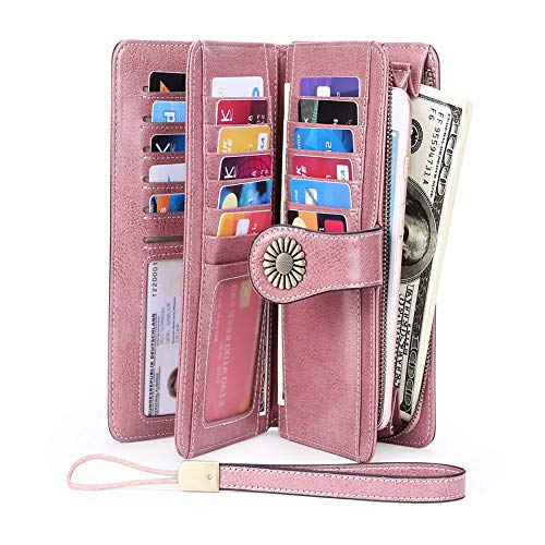 Women RFID Blocking Wallet, Large Capacity Leather Card Wallet with Removable Wristlet Strap (Pink)