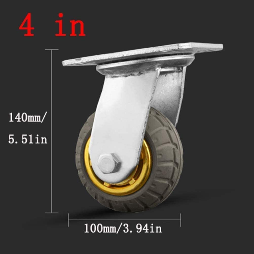 Cylficl 4 Pieces Heavy Mute Office Chair Swivel Chair Universal Wheel,Flatbed Truck Trolley Industry Directional Wheel,Replace Accessories with Brake Furniture Wheel,Castor Wheels