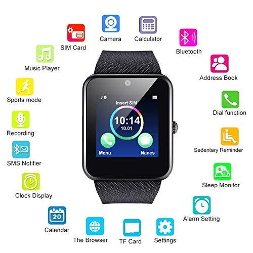 Kikole Bluetooth Smart Watch Waterproof Bracelet Wristwatch with Camera/SIM Card Slot/Pedometer Analysis/Sleep Monitoring for Android